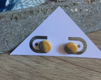 Shimmery Gold and Silver Two-Toned Geometric Color-Block Earrings