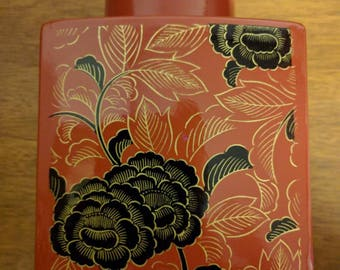Lovely Vintage Wood Red Lacquer with Black and Gold Ikebana Vase
