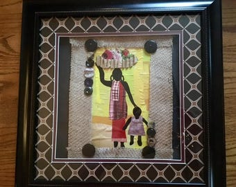 market with mama mixed medium framed art