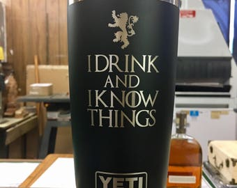Engraved Black 20 oz YETI Rambler - DRINK & KNOW