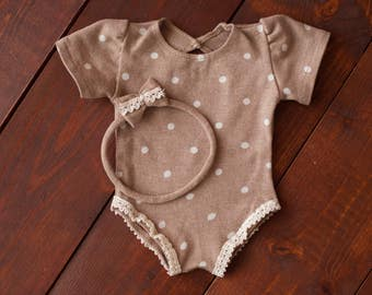 Newborn girl romper (Iris) - photography prop -  cream, beige, onesize, baby girl