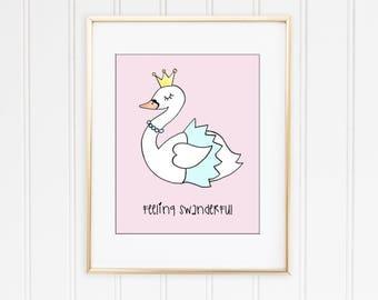 Wall Art Personalised Swan Feeling Swanderful Poster A4