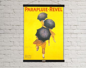 Parapluie Revel Umbrellas Yellow Ad Vintage Poster Hanging Canvas