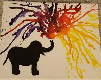 Melted crayon elephant