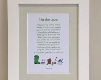 Garden Lover Print, Garden Lover Poem, Gardener Print, Gardener Poem, Gardener Gift, Gardener Wall Art, Mother's Day Gardening Gift