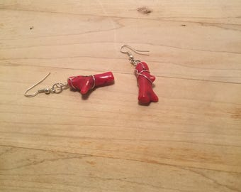 Wire Wrapped Red Glass Earrings