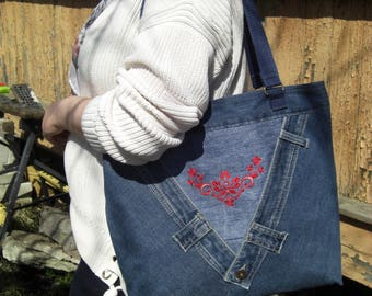 Denim bag Flower red machine embroidery Handbags For women gift for Her big mom bag recycled upcycled denim zipper bag shoulder