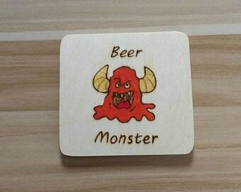 Beer Monster Wooden handmade coaster.
