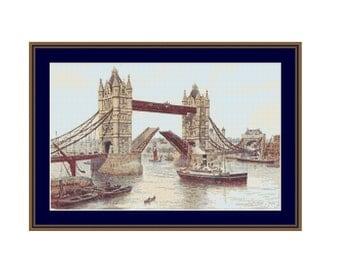 Tower Bridge cross stitch, London Bridge cross stitch chart, PDF pattern, instant download, London Cross stitch chart, digital download
