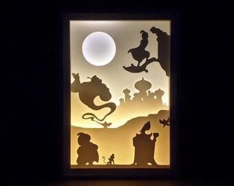 Paper Cut Silhouette Light Box - Aladdin