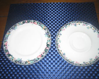 Vintage China Plates Mikasa Orchard Mural Bone China Saucer And Side Plate Vintage 1970's