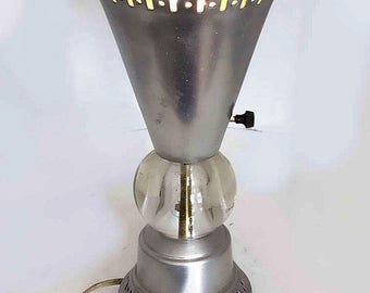 Vintage Mid -Century Modern Polished Aluminum And Glass Electric Table  Lamp Ciara  1960's