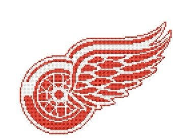 Detroit Red Wings Cross stitch pattern, NHL cross stitch,  Detroit Red Wings logo