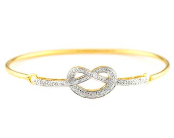 Genuine diamond Love knot bracelet