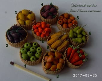 Dollhouse miniature.  Vegetables and fruit in baskets.