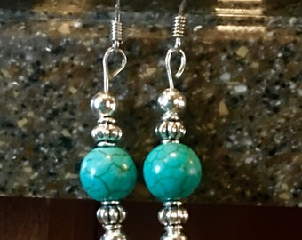 Double silver and turquoise earrings, dangle turquoise, silver drop earrings, western earrings, silver and teal earrings
