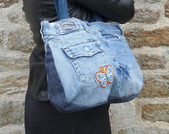 "Big original bag in recycled blue jeans ""Butterfly"""