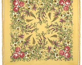 Russian shawl Pavlovo-Pasada wool large beautiful flowers