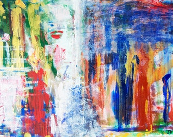 Historical abstraction, 2013 // Original acrylic painting by Sanda Vo // Bright Sunny Colorful Mood Artwork