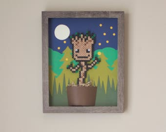 Dancing Baby Groot Framed Perler Bead Wall Art