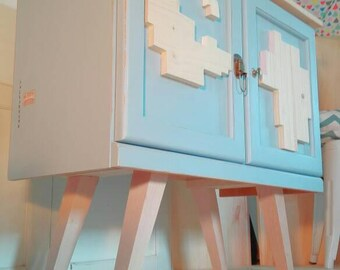 Sideboard table Tv auxiliary coffee lounge entrance hall entry TETRIS Nordic-style light blue natural wood inclined legs