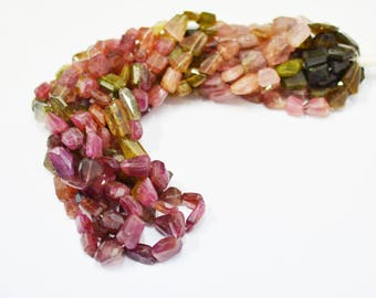 AAA quality Natural Multi Tourmaline Nugget faceted / 8.0-10.0 mm / 16 inch strand approx