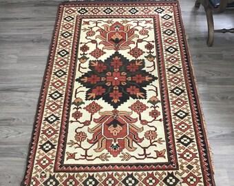 Beautiful Vintage Hand Woven Afghan Rug