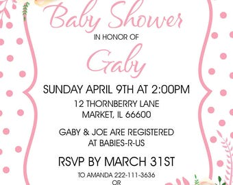 Printable Pink Flowers Baby Shower Invitation