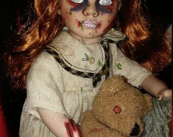 Sam goth horror ooak up cycled doll creepy