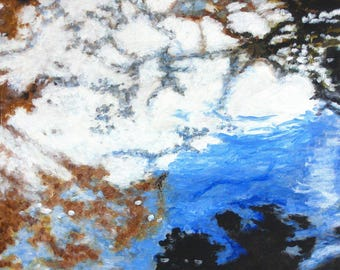 """Original Nature Abstract Acrylic Painting """"Abstract Pond"""""""