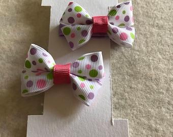 Set of girls hair bow/ girls polka dot hair clip