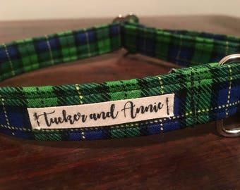 Custom Handmade Dog Collar and Matching bandana in 'Spring Plaid' Print
