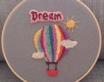 Dream balloon punch needle embroidery, hoops, home decor, wall art, handmade craft