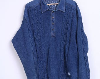 Blue Willi's Mens XL Jumper Blue Sweater Cotton Vintage