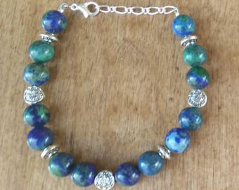 Bracelet with 8mm Crysocolla and silver spacers