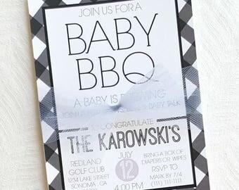 Baby BBQ Invitation . BabyQ Shower Invitation . Black and White Shower . Gingham Baby Shower Invitation . BBQ Baby Shower. Free Shipping