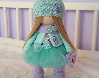Textile doll Handmade doll Interior doll Soft doll Decor doll Aqua doll