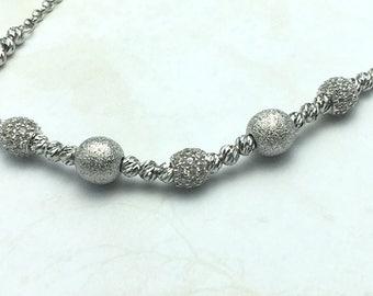 14K White Bracelet,necklace set with Diamond cut  Pearls
