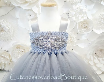 Silver Flower Girl Tutu Dress-Silver Gray Tutu Dress-Silver Tutu Dress.Flower Girl Tutu Dress-Wedding Tutu Dress