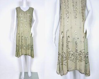 1920s Sage Green Art Deco Beaded Dress
