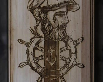SAILOR wood engraving