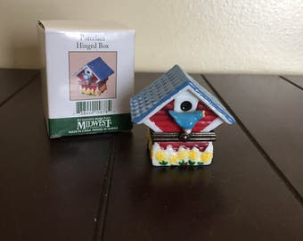 FREE SHIPPING Birdhouse Porcelain Hinged Box