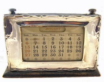 Antique Sterling Silver Vintage Perpetual Desk Calendar Birmingham Hallmarked W J Myatt & CO