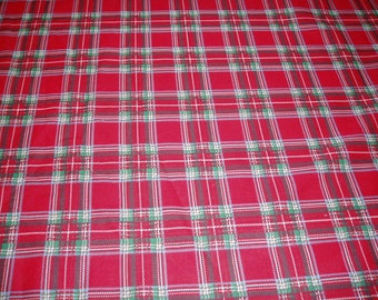 Reverseable  red check-tartan poly.cotton w001