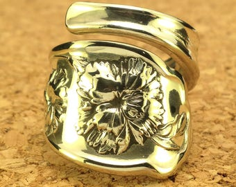 Antique Spoon Ring - Orange Blossom Silverware Spoon Ring