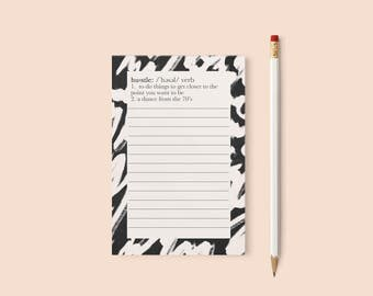 Hustle Notepad, To Do List, Cute Office Notepads, Retro Notepad, Stylish Notepads, memo Pad, Hustle, Cute Notepads, Note Pad