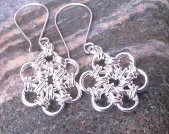 Sterling Silver Earrings 12-1 Weave - Daisy