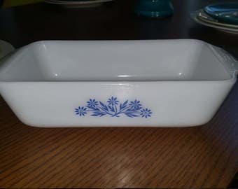 REDUCED-Vintage Anchor Hocking 441 Loaf Dish / Milk Glass with Blue Corn Flower Print