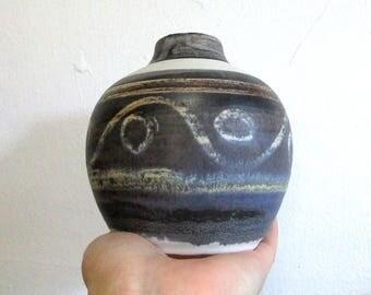 70s Pottery Vase Blue, Handmade Stoneware Vase, Ceramic Tablewear, Vintage Boho Decor