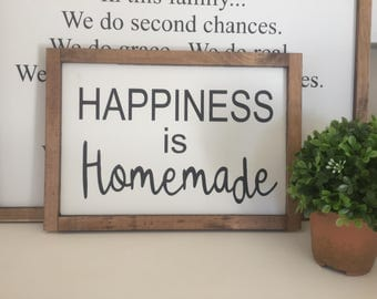 Happiness is homemade wood sign / handmade sign / farmhouse sign / home decor
